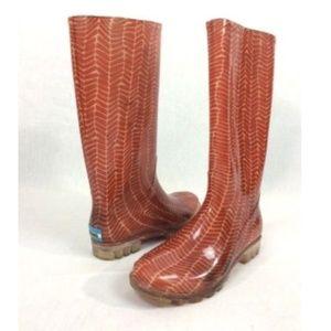 TOMS Cabrilla Rain Boots Red Herringbone Pull On